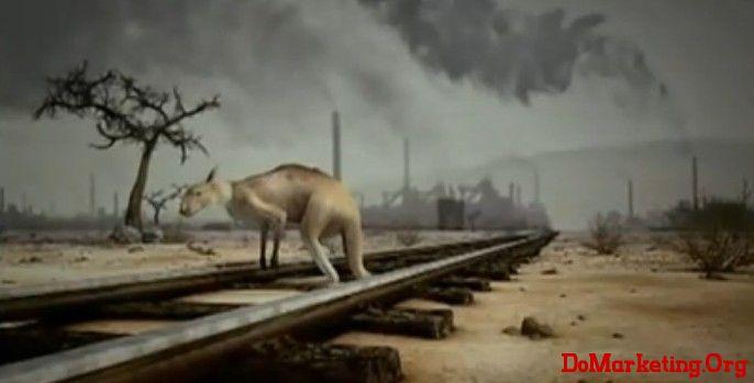 当猴子失去丛林而上吊,北极熊永别冰川而跳海,袋鼠没有了赖以生存的草原而卧轨·····这是人类放纵自身,不遏制全球变暖趋势的后果,这不只是动物的末日,而是我们共同的末日。 本片用排比句式描绘末日景象,从动物失去家园纷纷自杀切入,当人们感到痛心疾首的时候,点出广告语:如果人类都放弃了,那么它们也就只能放弃了。旨在警醒人类要保护环境,减少碳气排放,从而控制全球变暖趋势。否则人类的下场会和动物一样,惨遭灭绝。 广告曲用了前创世纪乐队主唱Pete